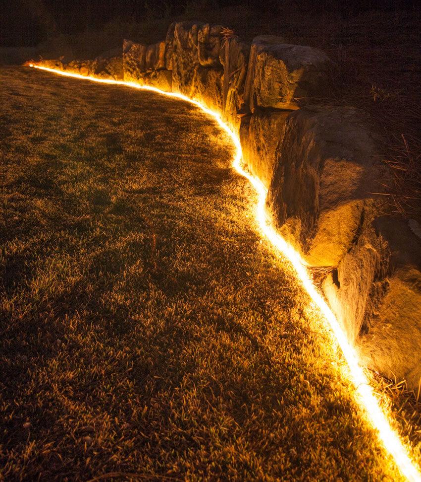 Rope Light Highlights Landscape Contours
